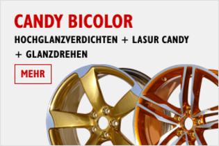Felgen in Candy Bicolor. Hochglanzverdichten + Lasur Candy + Glanzdrehen