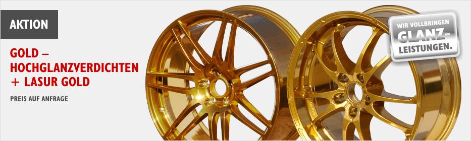 Alufelgen in gold lackieren - Hochglanzverdichten und Lasur in gold